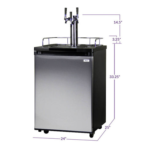 Kegco HBK209S-3NK Freestanding Homebrew Indoor Triple Tap Stainless Steel Kegerator