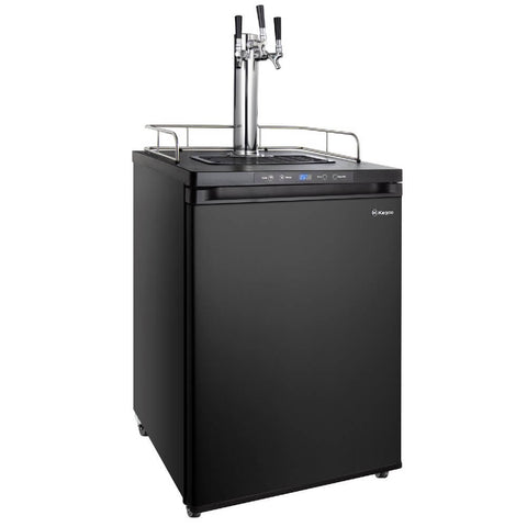 Kegco HBK309B-3NK Wide Freestanding Homebrew Indoor Triple Tap Black Digital Kegerator