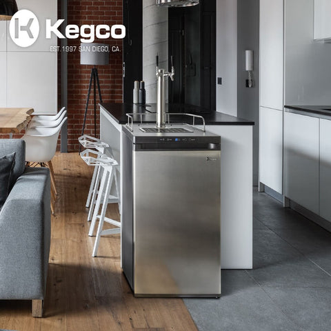 Image of Kegco HBK309S-2NK Wide Freestanding Homebrew Indoor Dual Tap Stainless Steel Digital Kegerator