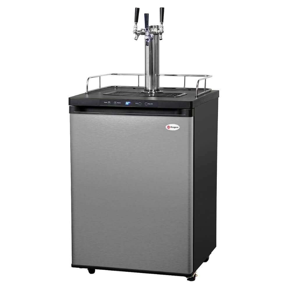 Kegco HBK309S-3NK Wide Freestanding Homebrew Indoor Triple Tap Stainless Steel Digital Kegerator