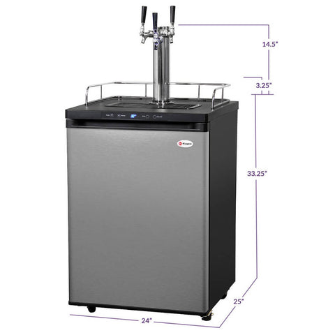 Image of Kegco HBK309S-3NK Wide Freestanding Homebrew Indoor Triple Tap Stainless Steel Digital Kegerator