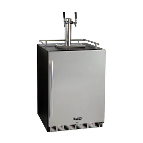 "Kegco 24"" Wide Double Tap Stainless Steel Built-In Kegerator with Kit"
