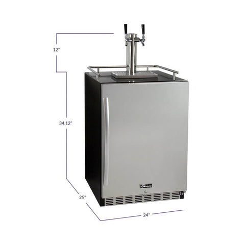 "Kegco 24"" Wide Dual Tap Stainless Steel Built-In Kegerator with Kit"