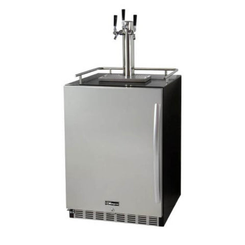 Image of Kegco Triple Tap  Stainless Steel Built-In Indoor Left Hinge Home Kegerators