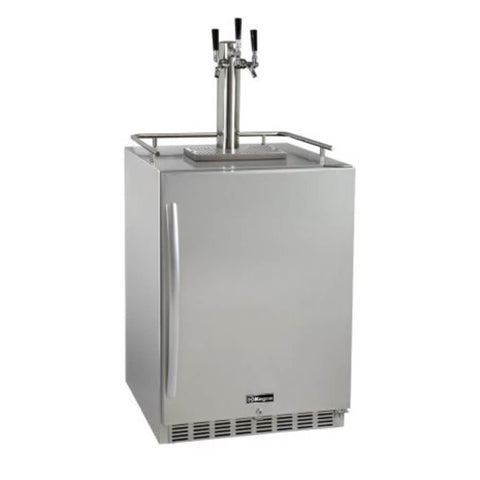 Image of Kegco Triple Tap Stainless Steel Undercounter Outdoor Right Hinge Home Kegerators