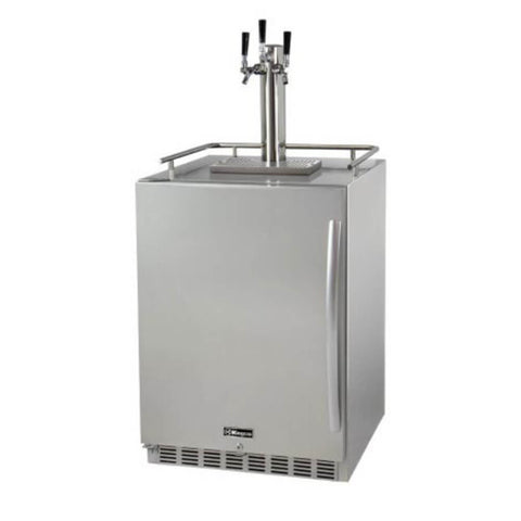 Image of Kegco Triple Tap Stainless Steel Undercounter Outdoor Left Hinge Home Kegerators