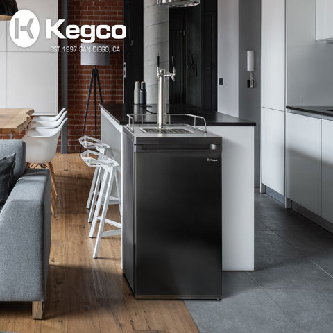 Image of Kegco ICK20B-2NK Wide Freestanding Indoor Dual Tap Black Cold Brew Coffee Kegerator