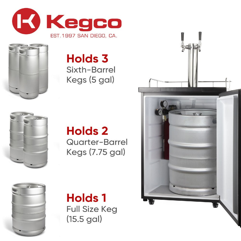 Kegco ICK20B-2NK Wide Freestanding Indoor Dual Tap Black Cold Brew Coffee Kegerator