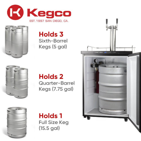 "Image of Kegco 24"" Wide Freestanding Double Tap Black Cold Brew Coffee Kegerator (Model: ICK30B-2NK)"