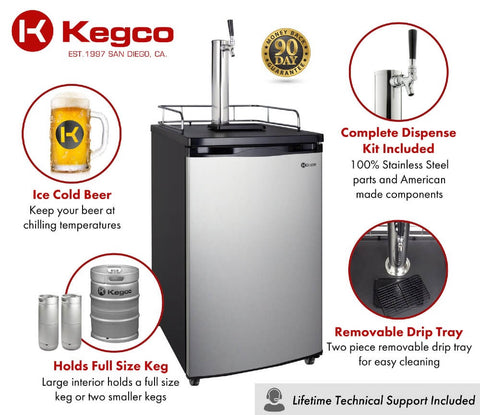 Image of Kegco K199SS-1NK Freestanding Indoor Stainless Steel Single Tap Home Kegerator