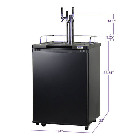 Kegco K209B-3NK Black Triple Tap Indoor Kegerator