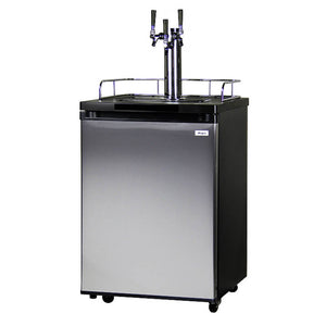 Kegco K209SS-3NK Freestanding Black Stainless Steel Triple Tap Indoor Kegerator