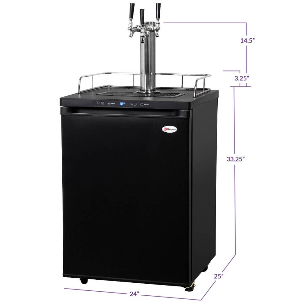 "Kegco 24"" Wide Freestanding Black Triple Tap Indoor Home Kegerator (Model: K309B-3NK)"