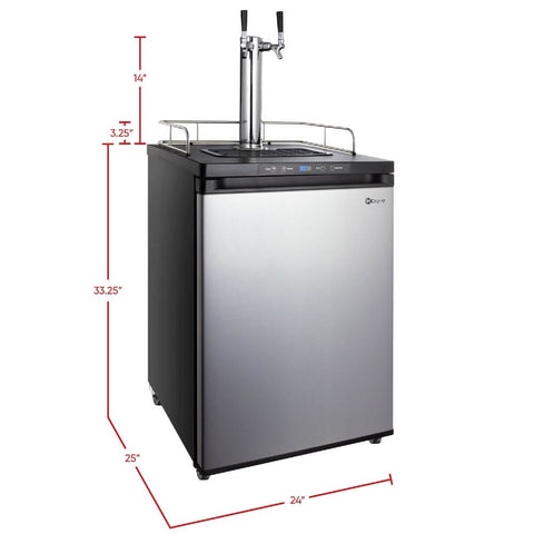 Image of Kegco K309SS-2NK Freestanding Stainless Steel Dual Tap Indoor Home Kegerator