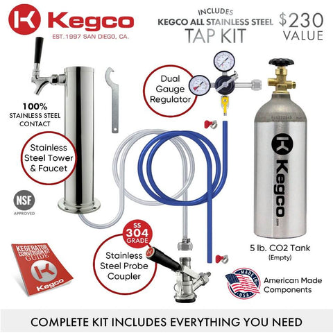 Kegco K309X-1NK Freestanding Black Stainless Steel Single Tap Indoor Digital Home Kegerator