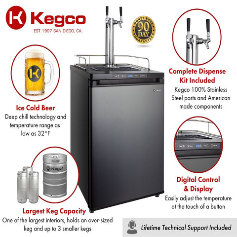 Image of Kegco K309X-2NK Freestanding Black Stainless Steel Dual Tap Indoor Digital Home Kegerator