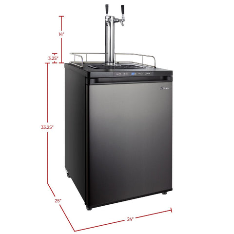 Kegco K309X-2NK Freestanding Black Stainless Steel Dual Tap Indoor Digital Home Kegerator