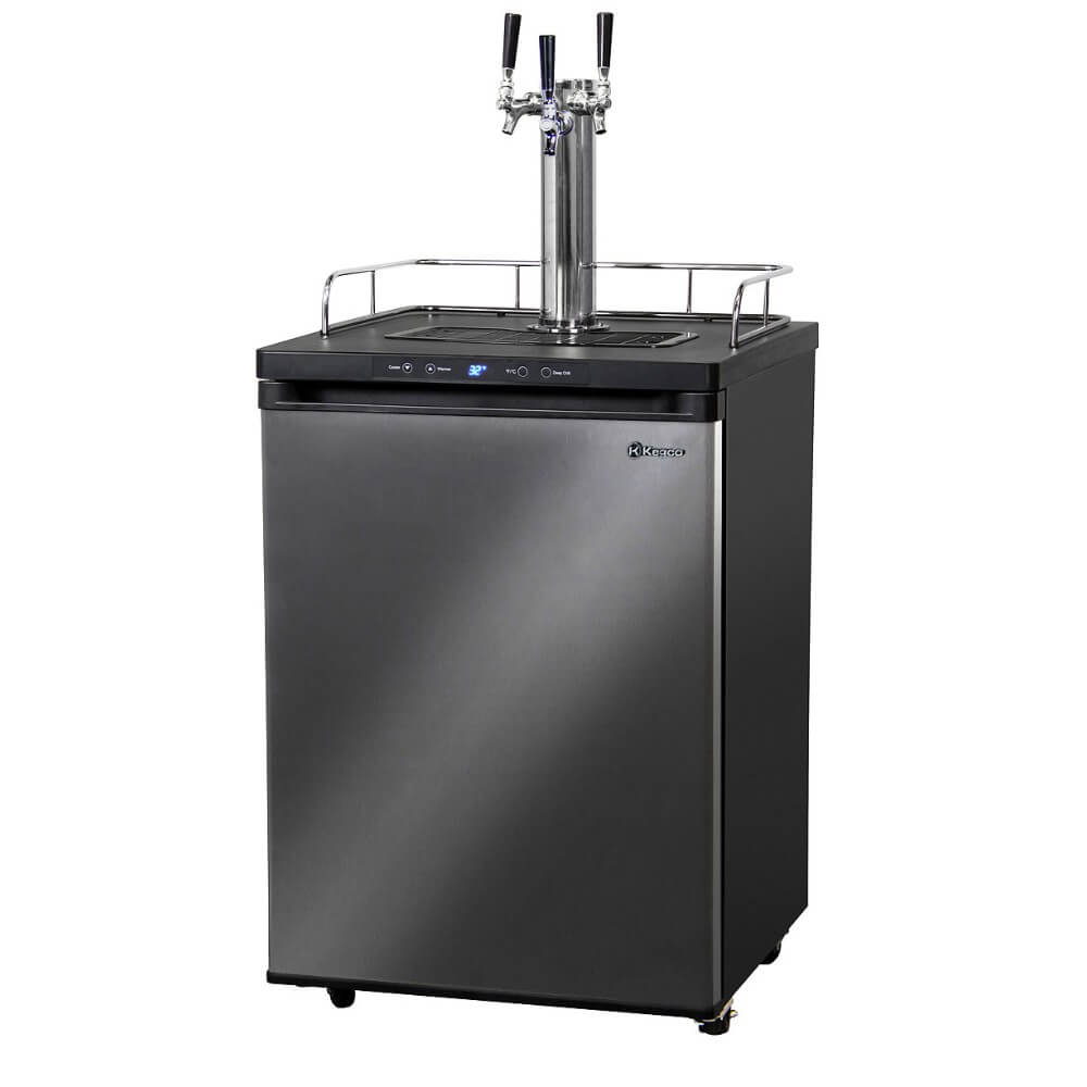 Kegco K309X-3NK Freestanding Black Stainless Steel Triple Tap Indoor Digital Home Kegerator
