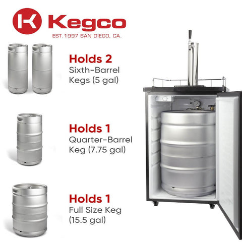 Kegco KOM19S-1NK Freestanding Stainless Steel Single Tap Kombucha Home Kegerator