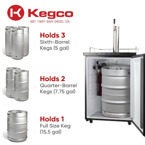 Kegco KOM30B-1NK Wide Freestanding Black Single Tap Kombucha Kegerator