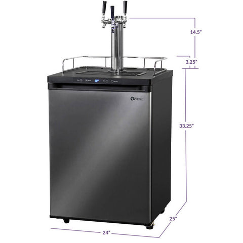 Kegco  KOM30X-2NK Freestanding Outdoor Black Stainless Steel Triple Tap Digital Kombucha Kegerator