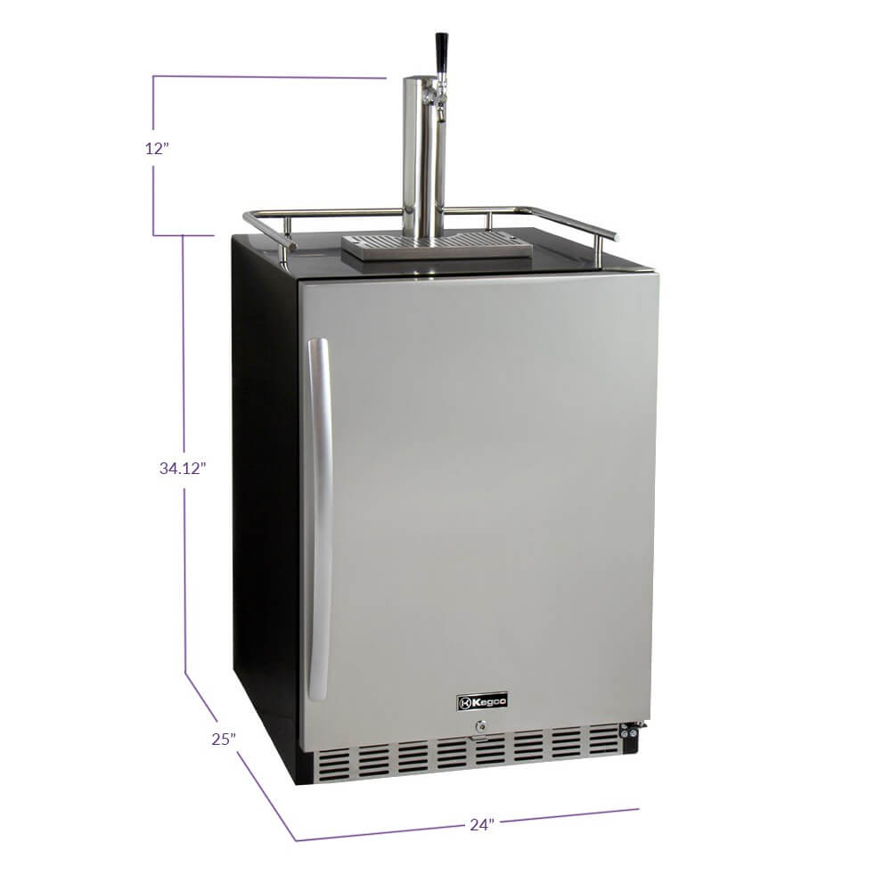 Kegco Single Tap  Stainless Steel Built-In Right Hinge Commercial Kombucha Kegerators