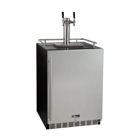 Image of Kegco Dual Tap  Stainless Steel Built-In Right Hinge Commercial Kombucha Kegerators