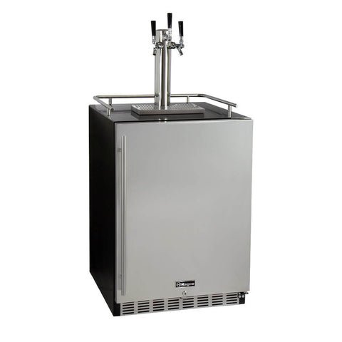 Image of Kegco Triple Tap Stainless Steel Built-In Right Hinge Commercial Kombucha Kegerators