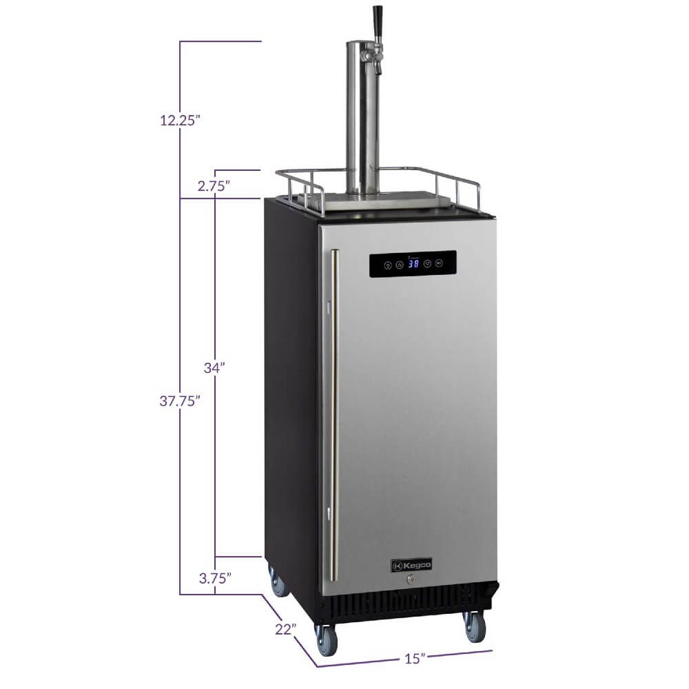 Kegco SLK15BSRNK Freestanding Indoor Stainless Steel Single Tap Commercial Kegerator