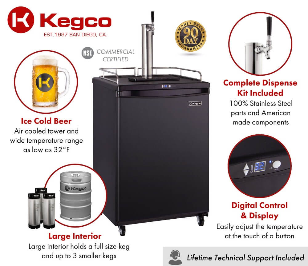 Kegco Z163B-1NK Single Tap Black Commercial/Residential Digital Kegerator