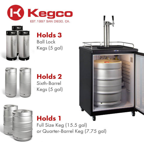 Image of Kegco Z163B-2NK Dual Tap Black Commercial/Residential Digital Kegerator