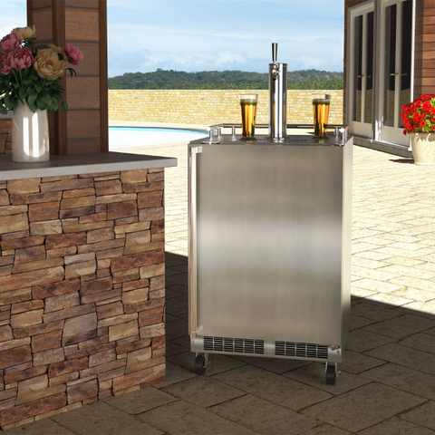 Marvel 24 Inch Built-in Outdoor Mobile Stainless Steel Beer Dispenser, 5.7 Cu. Ft. Capacity (MOKR224SS31A)