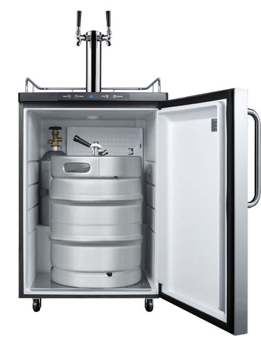 Summit Freestanding Dual Tap Kegerator, Black Cabinet/Diamond Plate Door (Model: SBC635MDPLTWIN)