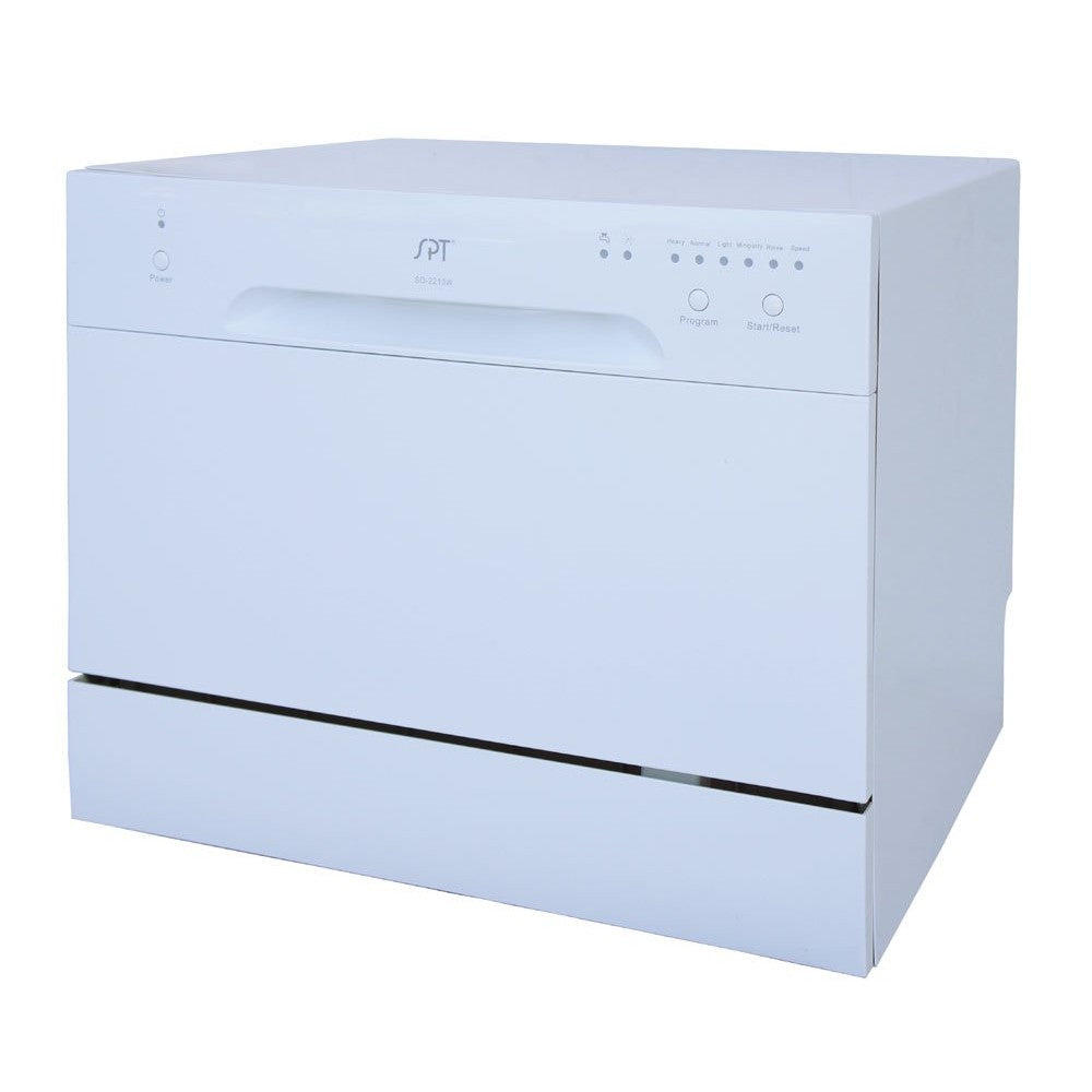 Sunpentown 120V White 6 Wash Cycles Countertop Dishwasher (SD-2213W)