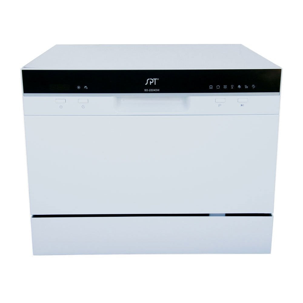 Sunpentown 120V White 7 Wash Cycles Countertop Dishwasher with Delay Start & LED (SD-2224DW)
