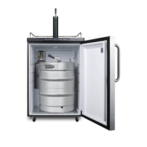Image of Summit 24 - Inch 5.6 cu.ft. Mobile Stainless Steel Single Tap Beer Dispenser (Model: SBC635MSSTB)