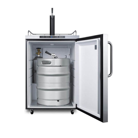 Image of Summit 24 - Inch 5.6 cu. ft Stainless Steel Commercial Outdoor Single Tap Beer Kegerator (Model: SBC635MOS)