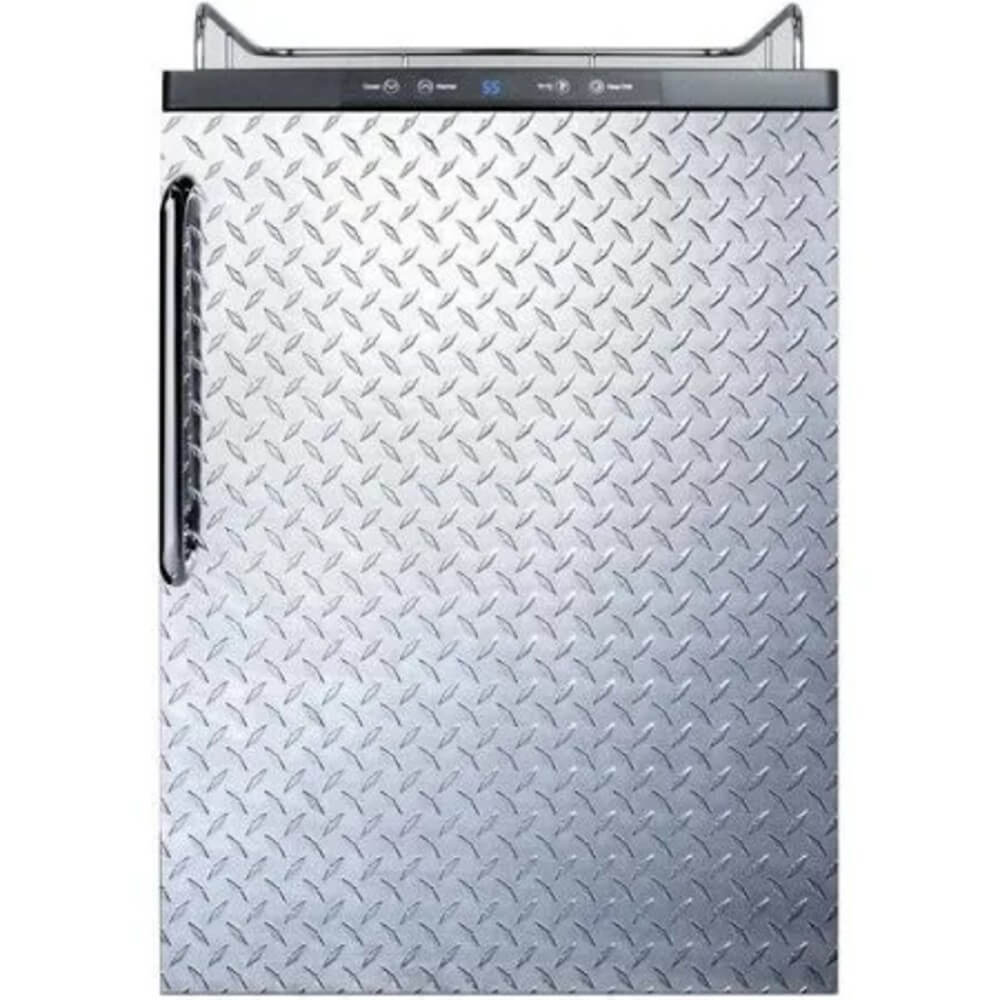 Summit 24 - Inch 5.6 Cu. Ft. Built- in Stainless Steel Diamond Plate Door Beer Kegerator - No Tap Kit (Model: SBC635MBINKDPL)