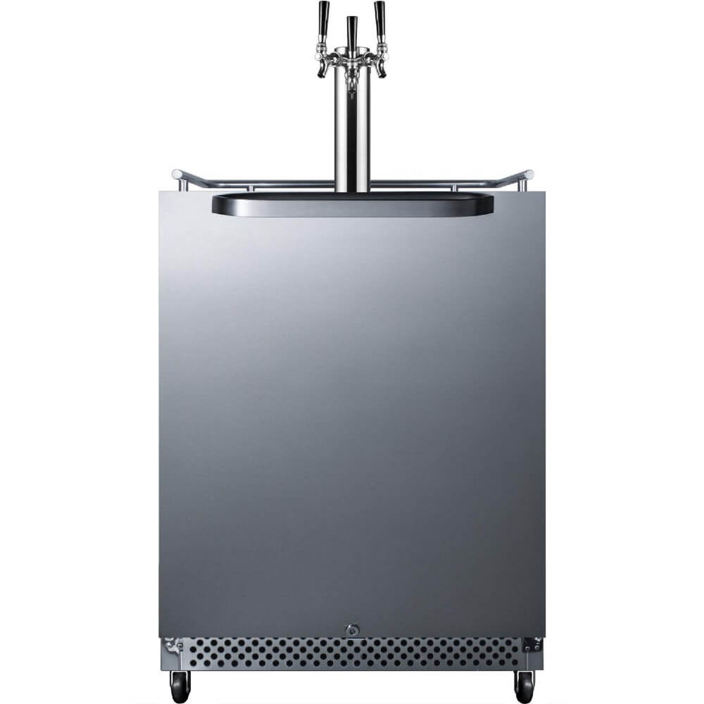 Summit 24-Inch 6.04 Cu. Ft. Commercial Stainless Steel Outdoor Triple Tap Beer Kegerator (Model: SBC695OSTRIPLE)