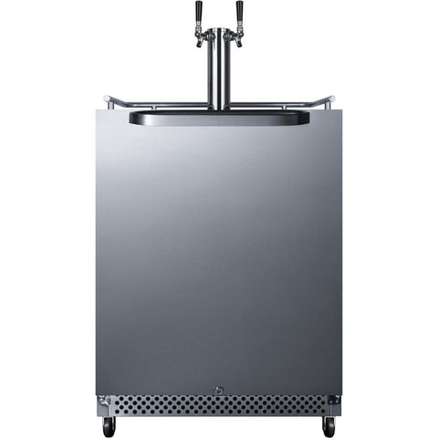 Image of Summit Commercial 24-Inch 6.04 Cu. Ft. Commercial Outdoor Double Tap Beer Kegerator (Model: SBC695OSTWIN)