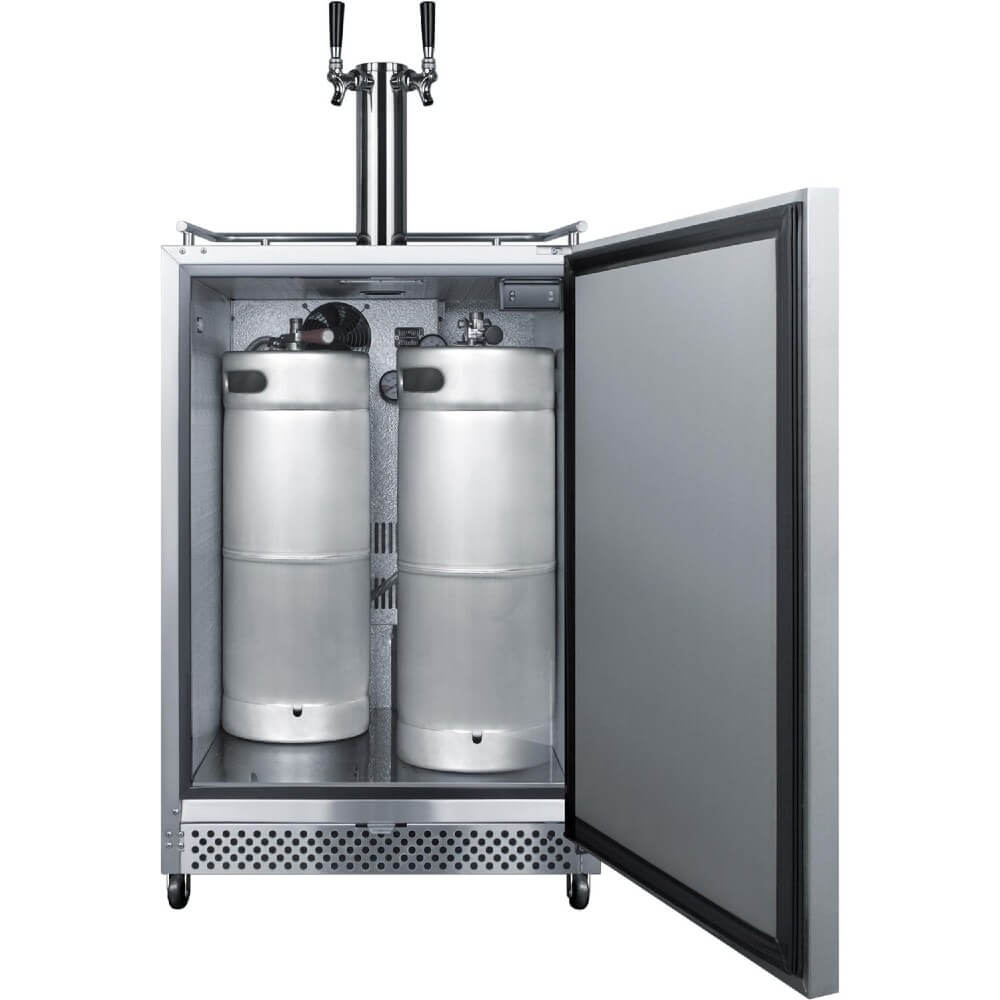 Summit Commercial 24-Inch 6.04 Cu. Ft. Commercial Outdoor Double Tap Beer Kegerator (Model: SBC695OSTWIN)