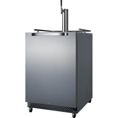 Image of Summit 24-Inch 6.04 Cu. Ft. Commercial Stainless Steel Outdoor Single Tap Beer Kegerator (Model: SBC695OS)