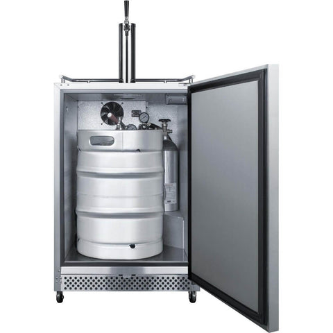 Summit 24-Inch 6.04 Cu. Ft. Commercial Stainless Steel Outdoor Single Tap Beer Kegerator (Model: SBC695OS)