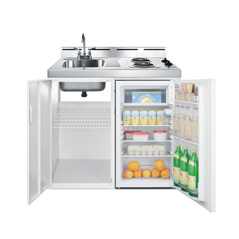 "Summit 39""W All-In-One Kitchenette with 2-Burner 115v Coil Cooktop, Refrigerator-Freezer, Sink, and Storage Cabinet (Model: C39EL)"