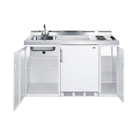"Image of Summit 60""W All-In-One Kitchenette with 2-Burner Cooktop, Refrigerator-Freezer and Sink (Model: C60EL)"