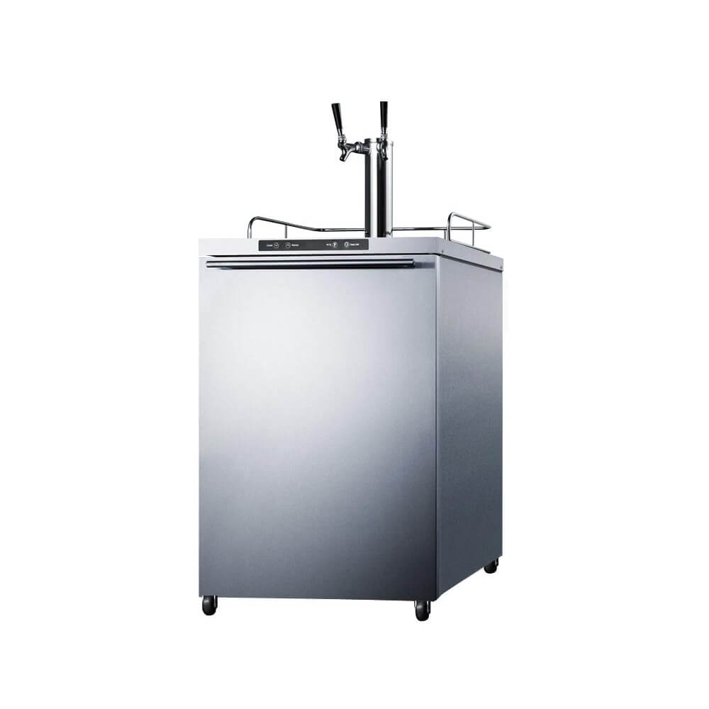 Summit 24 - Inch 5.6 Cu. Ft. Mobile Stainless Steel Outdoor Double Tap Beer Kegerator (Model: SBC635MOSHHTWIN)