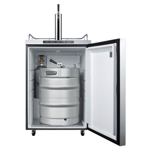 Image of Summit 24 - Inch 5.6 Cu. Ft. Mobile Stainless Steel Outdoor Single Tap Beer Kegerator (Model: SBC635MOSHH)