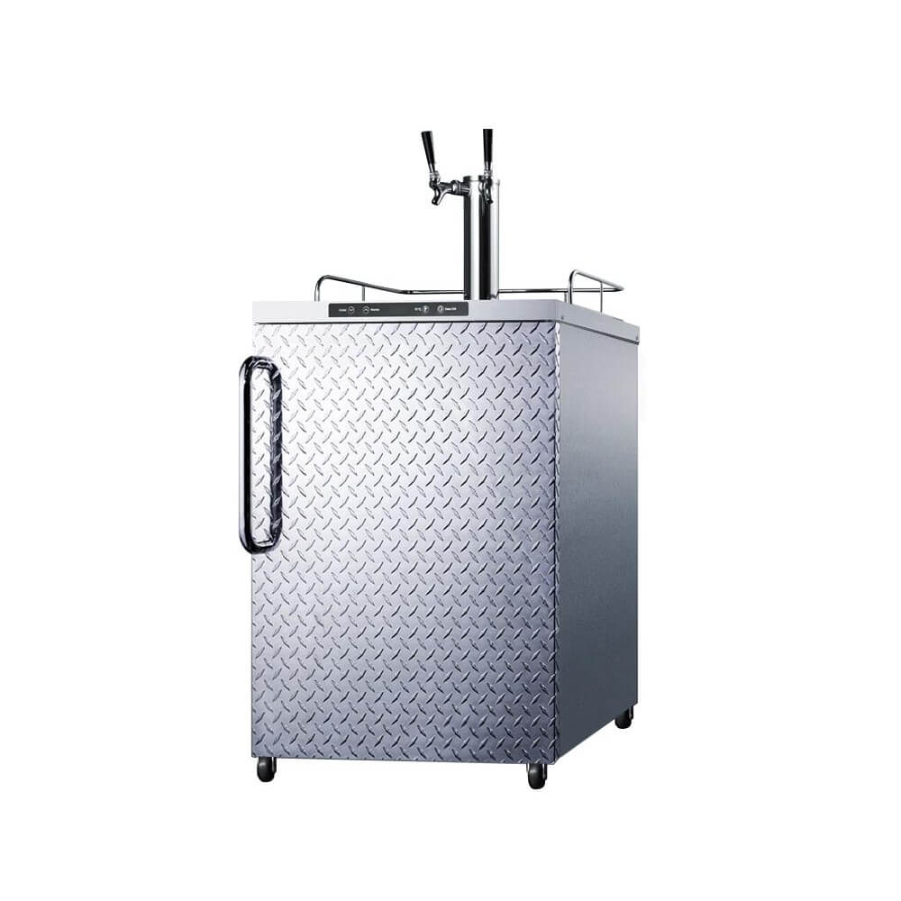 Summit 24 - Inch 5.6 Cu. Ft. Portable Stainless Steel Diamond Plate Door -  Double Tap Beer Kegerator (Model: SBC635MOSDPLTWIN)
