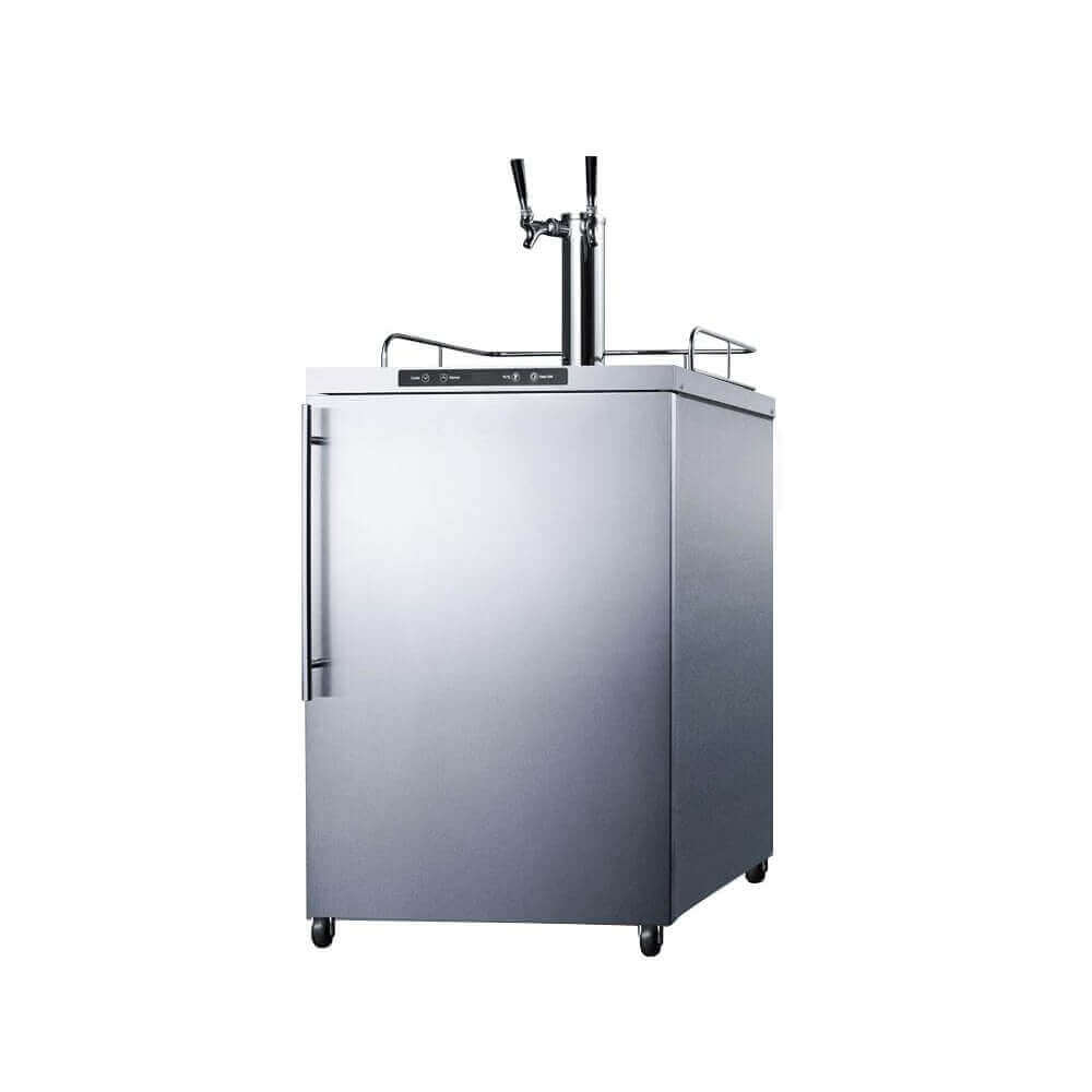 Summit 24 - Inch 5.6 Cu. Ft. Mobile Stainless Steel Double Tap Outdoor Beer Kegerator (Model: SBC635MOS7HHTWIN)