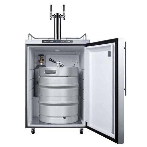 Image of Summit 24 - Inch 5.6 Cu. Ft. Mobile Stainless Steel Double Tap Outdoor Beer Kegerator (Model: SBC635MOS7HHTWIN)